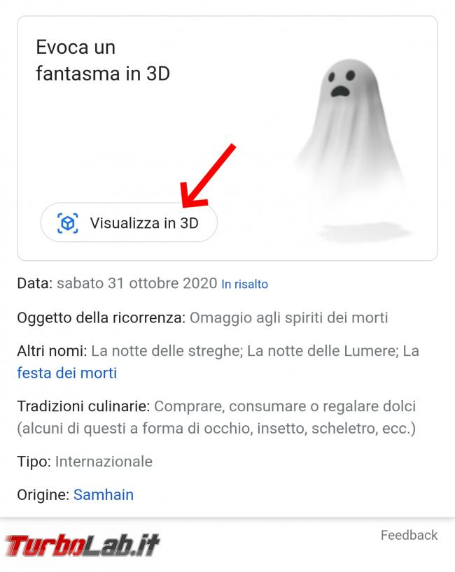 Prova animazioni Google 3D Halloween paura - Screenshot_20201030-183221