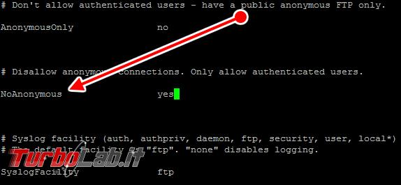 Pure-FTPd: abilitare accesso anonimo - pure-ftpd.conf 01