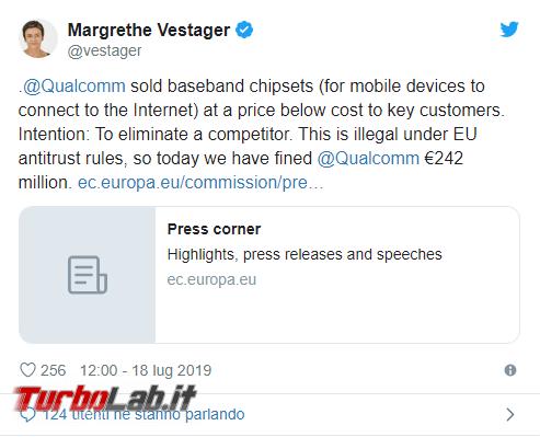Qualcomm multata U.. concorrenza sleale - Annotazione 2019-07-18 183954