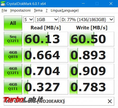 Quale è velocità reale disco fisso SATA (MB/s)? - benchmark crystaldiskmark hard disk