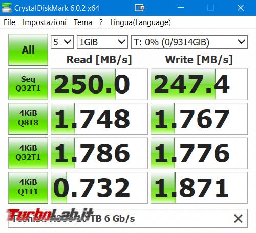 Quale è velocità reale disco fisso SATA (MB/s)? - crystaldiskmark toshiba n300 10 TB
