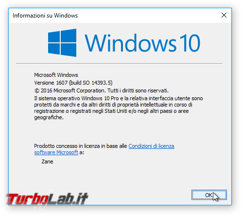 Questa settimana TLI (06 agosto 2016) - windows 10 1607 anniversary update winver