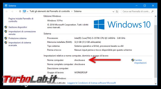 Questa settimana TLI (12 novembre 2016) - windows 10 proprietà sistema nome computer