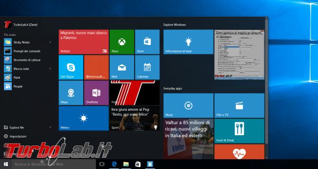 Questa settimana TLI (12 settembre 2015) - windows 10 start menu