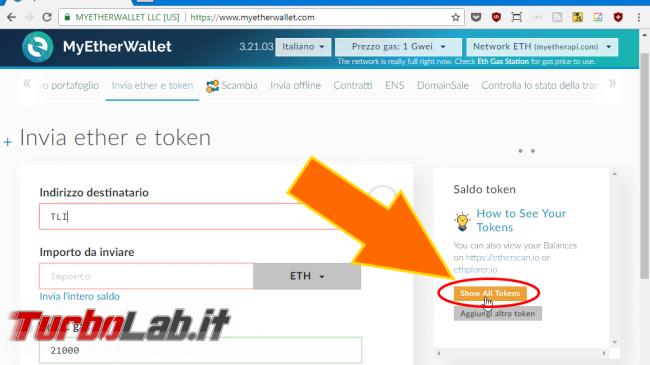 Questa settimana TLI (14 aprile 2018) - spotlight MyEtherWallet load all tokens