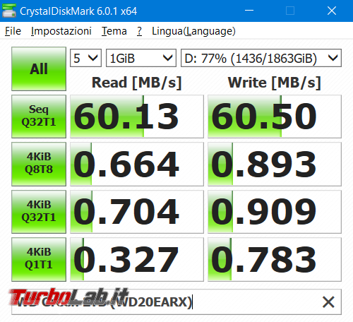 Questa settimana TLI (23 febbraio 2019) - benchmark crystaldiskmark hard disk