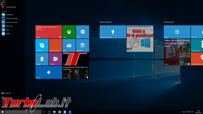 Questa settimana TLI (26 settembre 2015) - schermata start Windows 10 open