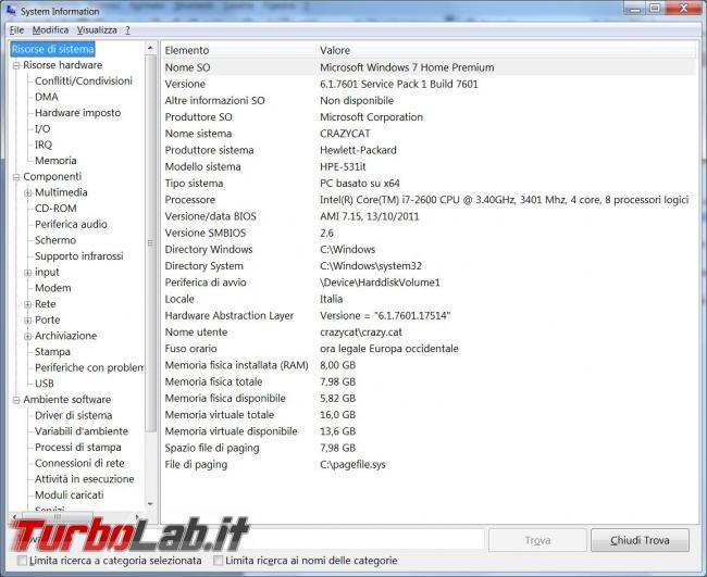 Raccogliere informazioni computer locali remoti grazie Msinfo32