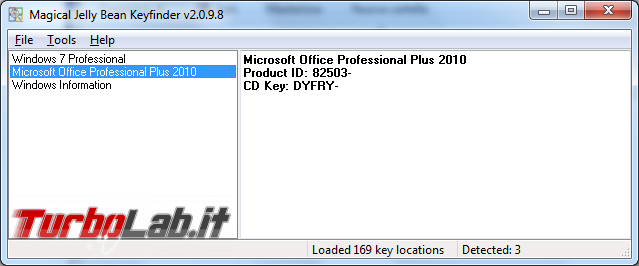 Recuperare seriali Windows Office Magical Jelly Bean Keyfinder