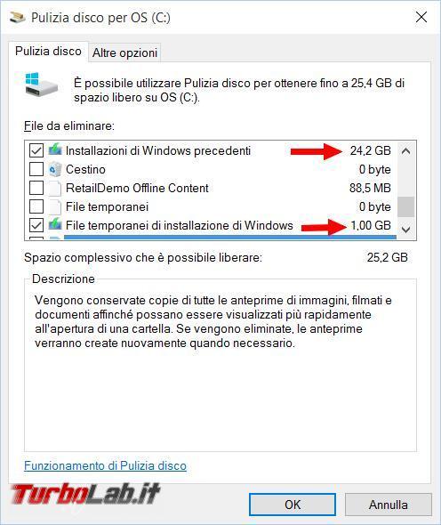 Recuperare spazio disco fisso dopo l'aggiornamento Windows 10