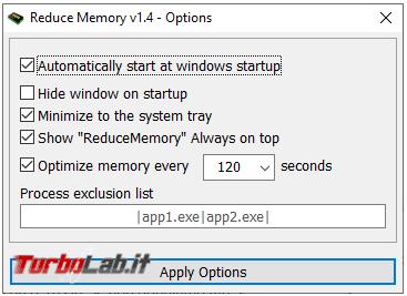 Reduce Memory ottimizza l'uso memoria RAM
