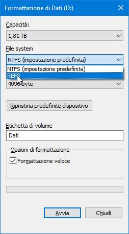 ReFS sta essere rimosso Windows 10 - formattazione unità refs