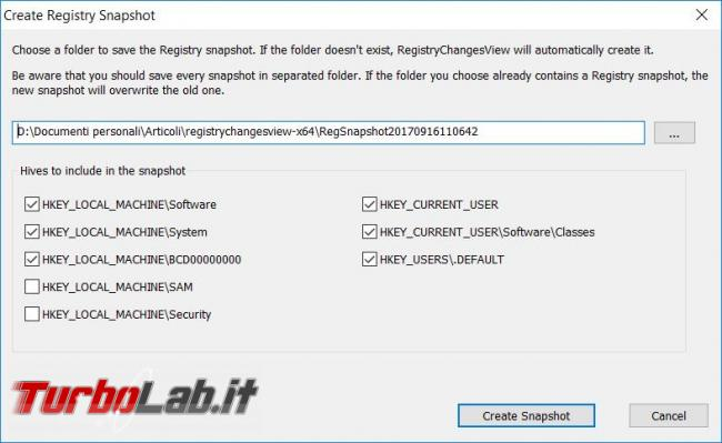 Registry Changes View visualizza  modifiche registro configurazione Windows