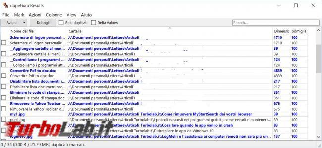 ricerca file duplicati disco fisso dupeGuru