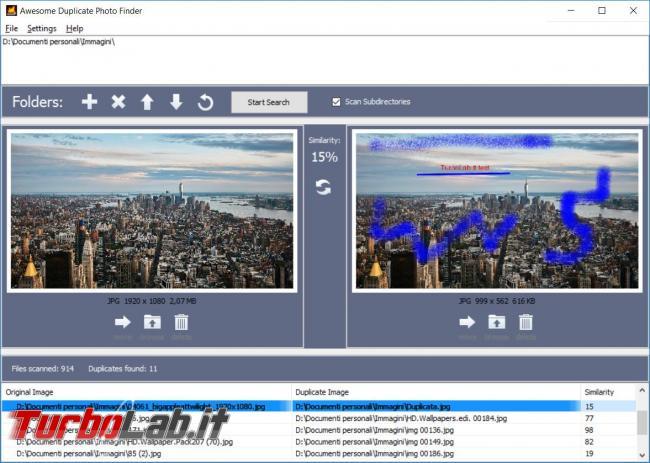ricerca immagini duplicate disco fisso