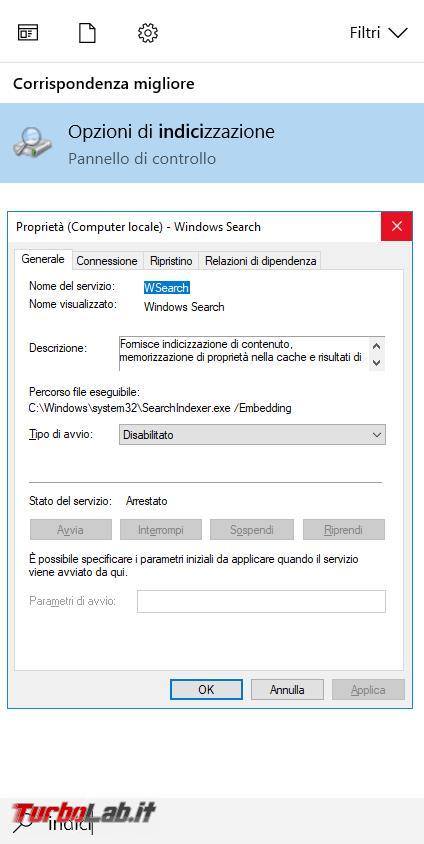 ricerca indicizzazione file Windows, come migliorarla, disabilitarla, seconda necessità