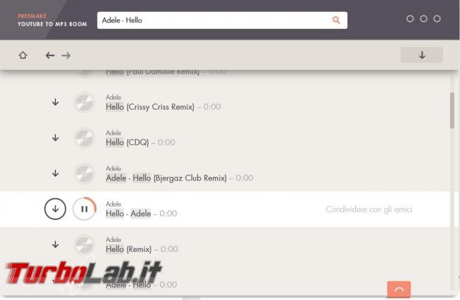 Ricerca scarica musica YouTube direttamente formato MP3 Freemake YouTube to MP3 Boom