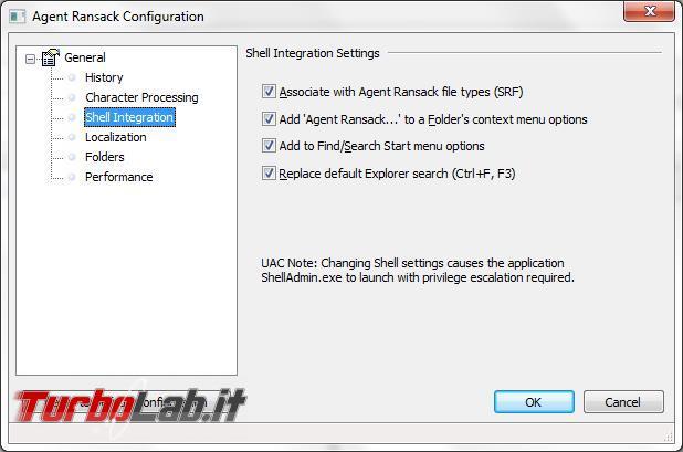 Ricercare file base testo contenuto Agent Ransack