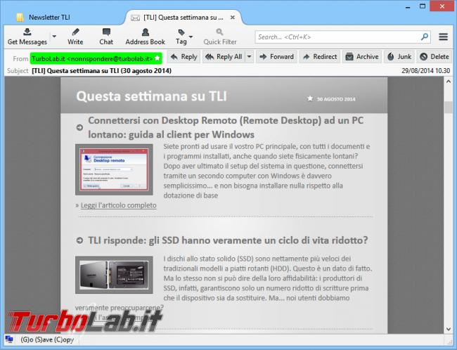 "Ricevere ""TurboLab.it"" via email: Come dis/iscriversi newsletter - newsletter turbolab.it"