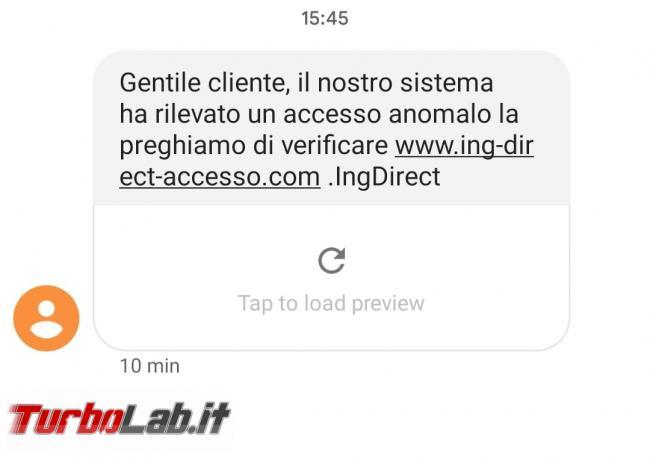 Rilevato accesso anomalo preghiamo verificare: SMS truffa ING Direct - WhatsApp Image 2021-06-19 at 15.56.27
