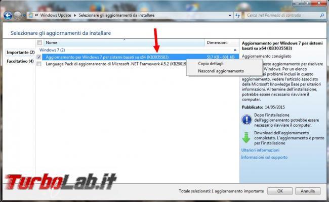 Rimuovere icona avviso dell'aggiornamento Windows 10