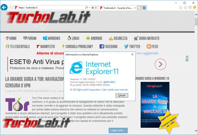 Rimuovere Internet Explorer Windows 10: guida disinstallare IE modo pulito corretto - internet explorer 11 in windows 10