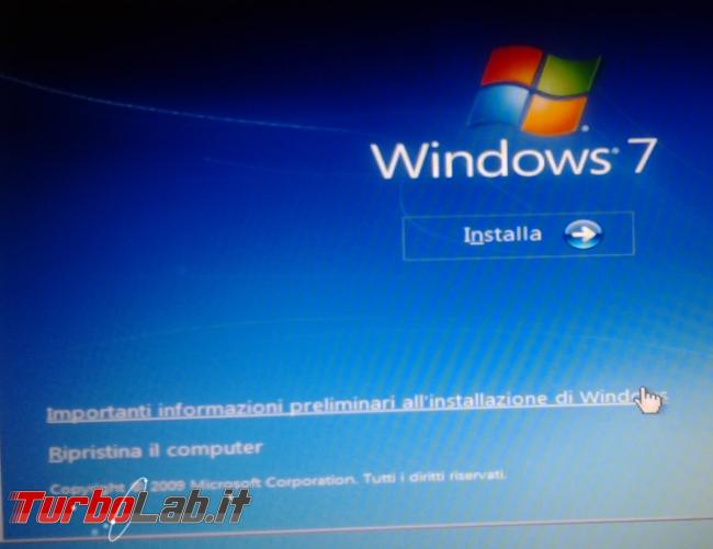 Riparare boot Windows 7 Dvd d'installazione
