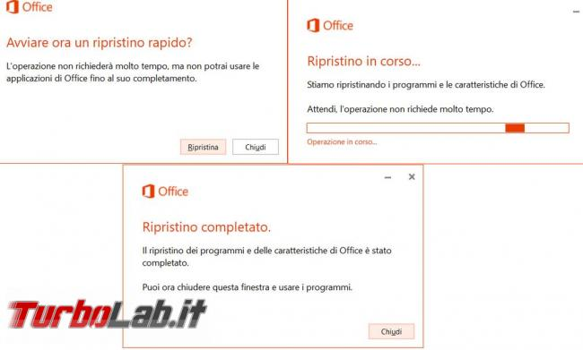 Riparare reinstallare Microsoft Office 2016 risolvere tutti problemi