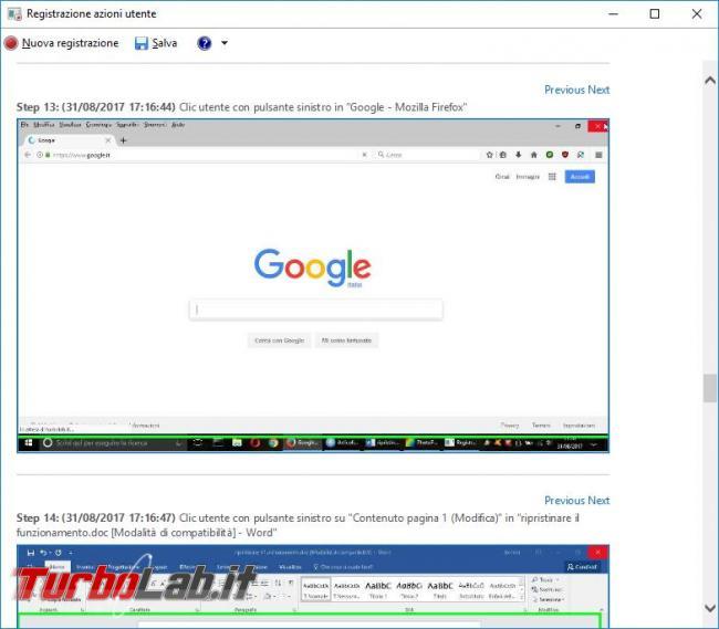 Ripristinare funzionamento registratore azioni utente Windows 10