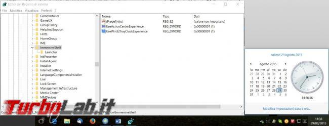 Ripristinare vecchio look controllo volume data ora Windows 10