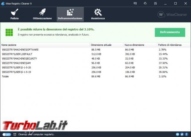 Ripulire registro configurazione Windows Wise Registry Cleaner