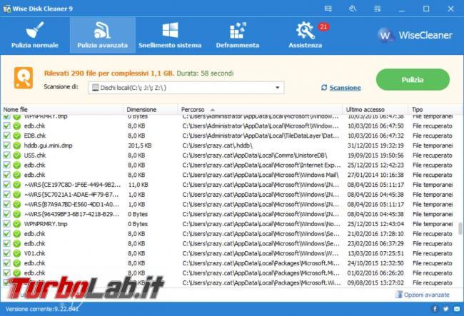 Ripulisci hard disk file inutili Wise disk Cleaner