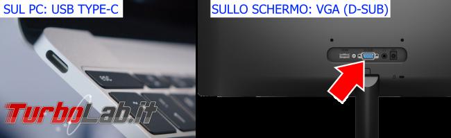 [risolto] Come collegare nuovo PC portatile USB Type-C vecchio schermo esterno VGA (D-Sub, porta azzurra/blu) - pc usb type-c schermo vga