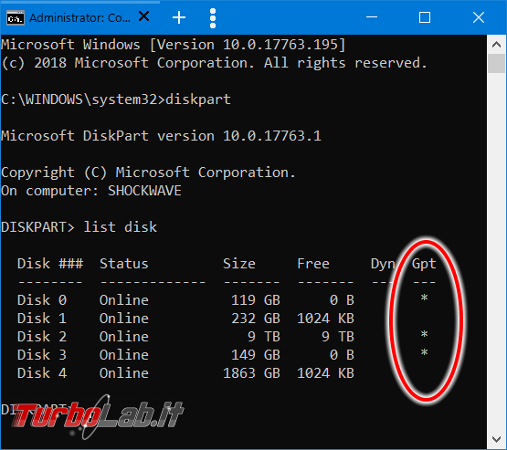 [risolto] Come vedere / scoprire se disco, SSD chiavetta USB è GPT oppure MBR Windows