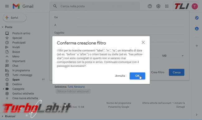 [risolto] Gmail, disattivare filtro anti-spam: come si fa? (guida)