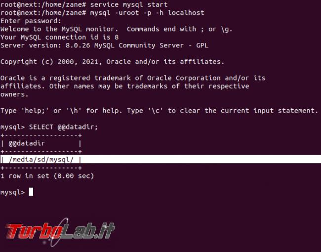 [risolto] MySQL 8 Ubuntu: come spostare file database salvare dati altro percorso (disco rete, SSD, NAS, USB) - mysql datadir update