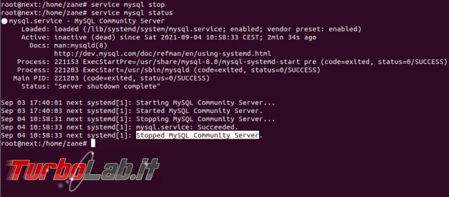[risolto] MySQL 8 Ubuntu: come spostare file database salvare dati altro percorso (disco rete, SSD, NAS, USB) - service mysql stop status