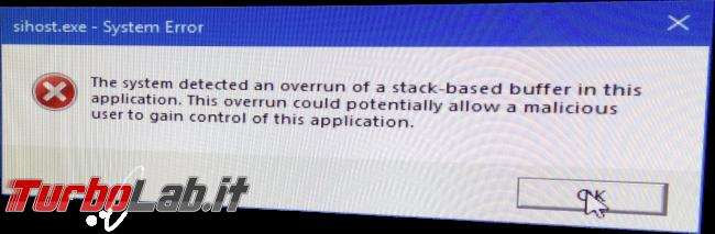 [risolto] PC Windows 10 non si avvia: KMODE_EXCEPTION_NOT_HANDLED klbackupdisk.sys dopo aggiornamento (schermata blu/verde) - sihost errore buffer overflow