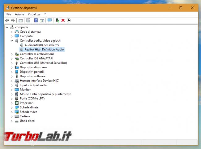 [risolto] Problema Windows 10: cuffie auricolari (jack audio frontale case) non funzionanti Realtek HDA (High Definition Audio) - gestione periferiche realtek hda high definition audio