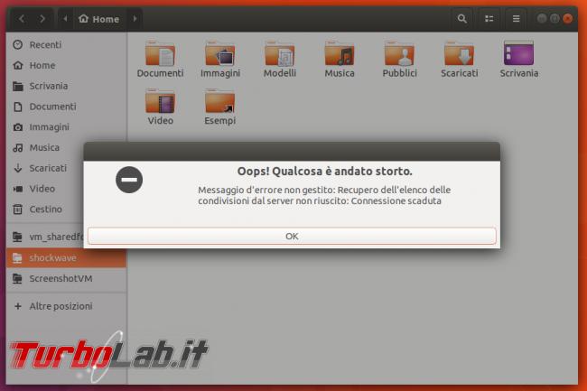 [risolto] Ubuntu cartelle condivise rete Windows 10 - errore: Connessione scaduta / Argomento non valido