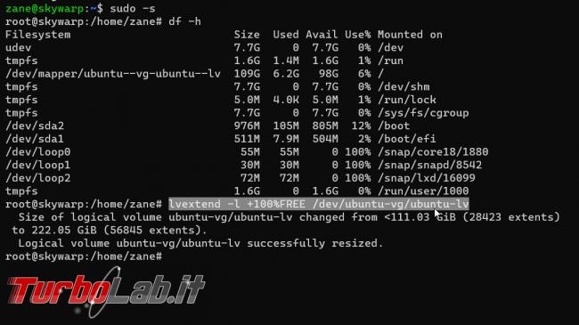 [risolto] Ubuntu, spazio disco esaurito (no space left on device): partizione ubuntu--vg-ubuntu--lv è più piccola disco fisso! Come ridimensionare risolvere senza reinstallare?