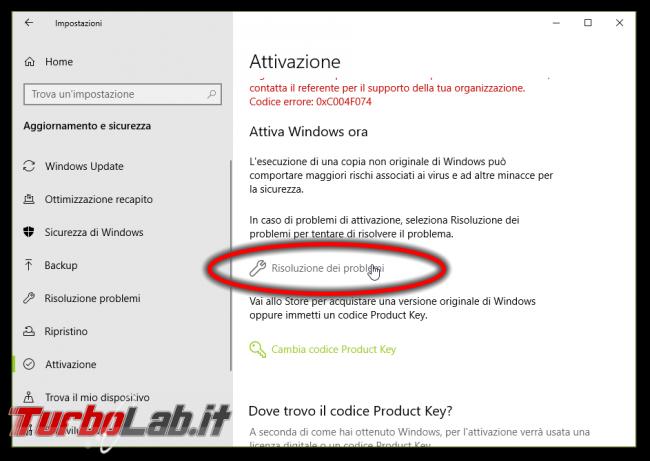 [risolto] Windows 10 non è attivato: errore attivazione 0xC004F074 non è possibile connettersi server attivazione organizzazione. Cosa fare? - windows 10 errore attivazione (2)