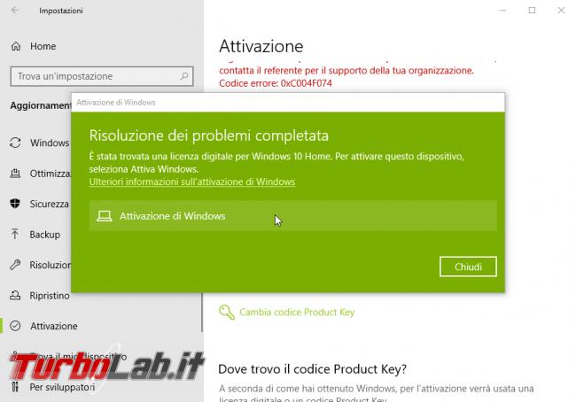 [risolto] Windows 10 non è attivato: errore attivazione 0xC004F074 non è possibile connettersi server attivazione organizzazione. Cosa fare? - windows 10 errore attivazione (4)