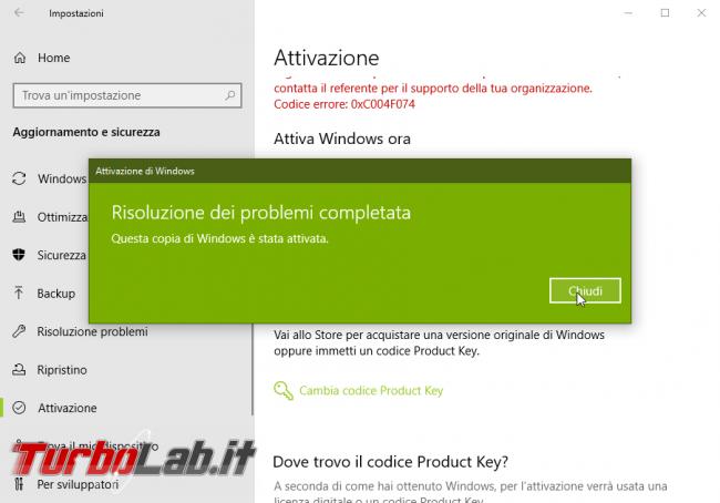 [risolto] Windows 10 non è attivato: errore attivazione 0xC004F074 non è possibile connettersi server attivazione organizzazione. Cosa fare? - windows 10 errore attivazione (5)