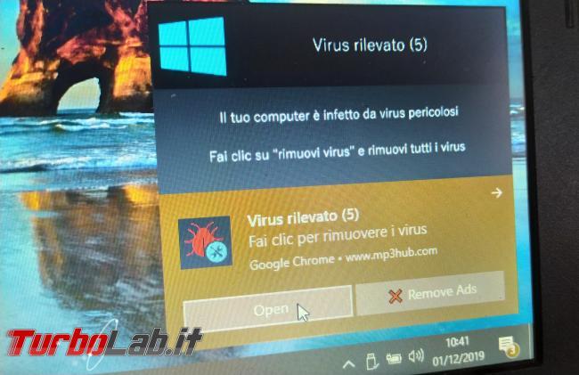 [risolto] Windows 10, notifica Virus rilevato non si chiude Google Chrome non si apre: come toglierla mezzo ripulire PC? - IMG_20191201_104125