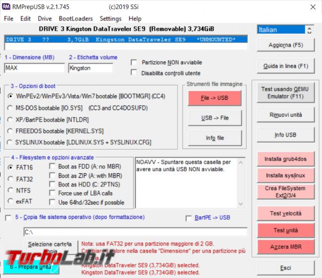 RMPrepUSB permette formattare, verificare rendere avviabile pendrive