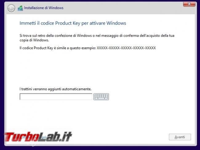 """Saltare inserimento codice """"Product Key"""" ("""" seriale"""") scegliere edizione Windows 8.1 installare"""