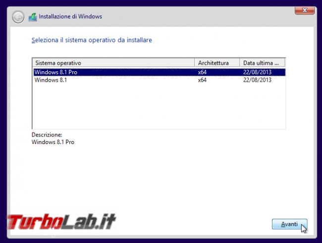 """Saltare inserimento codice """"Product Key"""" ("""" seriale"""") scegliere edizione Windows 8.1 installare - WinSetup scelta edizione"""