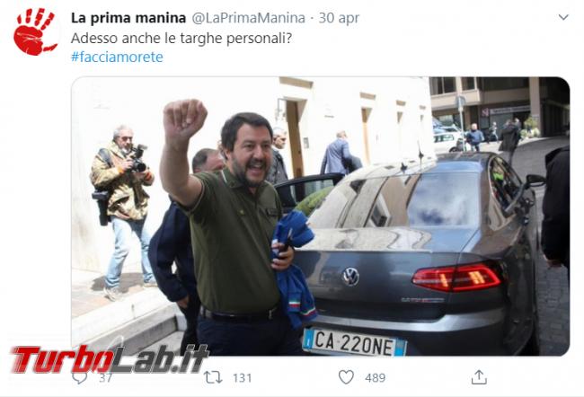 Salvini targa CA220NE: storia fotomontaggio mal riuscito - FrShot_1596721841