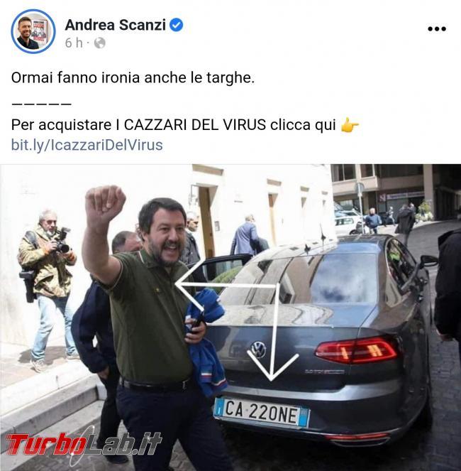 Salvini targa CA220NE: storia fotomontaggio mal riuscito - Screenshot_20200806-151100